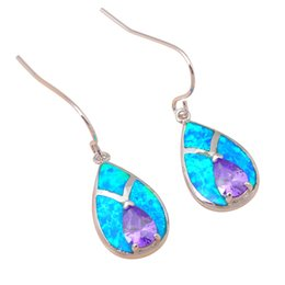Chinese  Dangle Earrings Cost prices Blue fire Opal Beautiful Silver Stamped 925 fashion jewelry Zircon dinner Drop Earrings Christmas gifts OE221 manufacturers