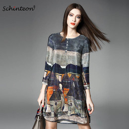 three quarter length sleeve women tops NZ - 2018 100% Real Silk Dress Women Spring Summer Vintage A-line Printing Loose Plus Size Dresses Top Quality Three Quarter Sleeves