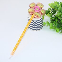 metal ballpen UK - Ballpen Plastic Gold Flower Blue Pencil Lead Fashion Office Supplie Metal Rubbion Handwork Bold Handwriting For Children Office Good Qulity