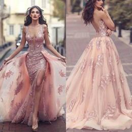 $enCountryForm.capitalKeyWord Australia - Prom Dress 2020 Sexy V Neck Backless High Split Formal Party Gowns Lace Applique Tulle DeDetachable tail dos de festa Lady Gala Dress