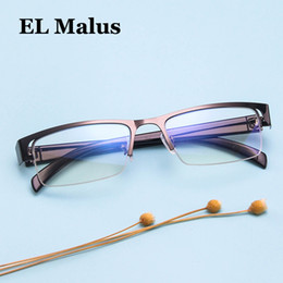 f126a8e9a9 mens rimless eyeglasses frames 2019 -  EL Malus Retro Anti-Blue Semi-