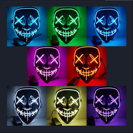 Wholesale Halloween Horror mask LED Glowing masks Purge Masks Election Mascara Costume DJ Party Light Up Masks Glow In Dark 10 Colors Free Shipping