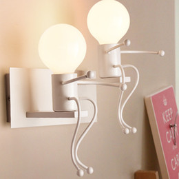$enCountryForm.capitalKeyWord Australia - Creative E27 Sconce Modern Cartoon Doll Wall Light Fixtures LED Mounted Iron Bedside Sconce Lamp for Kids Baby Room Living Room