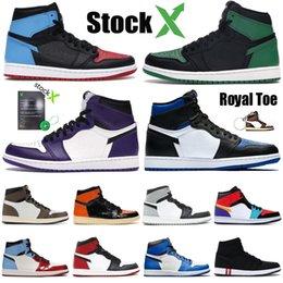 Sapatos homens Basquetebol Jordan 1 retro 1s alta OG baratos proibiu jogo Obsidian UNC real Atletismo Sneaker Top 3 Mens esporte treinador tamanho 7-12 em Promoção