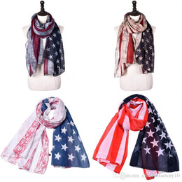 american flag fashion accessories Canada - Vintage Patriotic USA American Flag Theme Scarf 4th Of July Wrap Long US Scarves Gift fashion Accessories