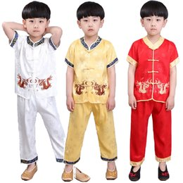Boy Chinese Suit Australia - Chinese Spring Festival Traditional Children Tang Clothes Suit Embroidery Dragon Baby Boys Shirt Trousers New Year Costumes Tops