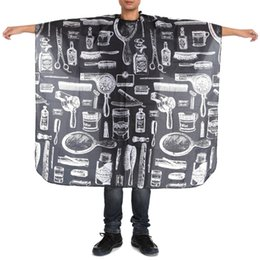 hair cutting cape hairdressing UK - 140x45cm Pattern Black Waterproof Hairdressing Cape Wrap Gown Apron Barber Hairdresser Hair Cutting Cloth Styling Tools