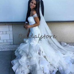 $enCountryForm.capitalKeyWord Australia - Custom Made White Mermaid Wedding Dresses Off Shoulders Lace embellish Organza Ruffles Country Bridal Gowns 2019 Cheap robe de mariée long