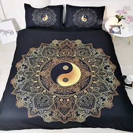 $enCountryForm.capitalKeyWord Australia - Gold Bohemian Bedding Golden Duvet Cover Mandala Bedspreads Boho 3 Piece Quilt Comforter Cover With 2 Pillow Shams Boys Girls Black Bed