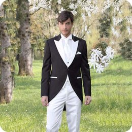 Wholesale tailcoat tuxedo back for sale - Group buy Black Tailcoat Groomsmen Outfits Men Suits for Wedding Groom Tuxedo Long Jacket Piece Coat Pants Design Costume Homme Black Peaked Lapel