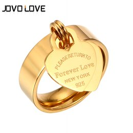 forever love steel ring NZ - MSX Forever Love Wedding Rings Engraved Big Heart Tag Stainless Steel Charm Ring Rose Gold Gold Color Love Ring For Women