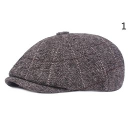 2e7992aedac Fashion Men Berets Caps For Men Autumn Winter Adults Male Newsboy Flat Cap  Peaked Herringbone Pattern Beret Hat Stripe Casquette S-079