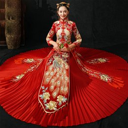 $enCountryForm.capitalKeyWord Australia - Red Long Sleeve Chinese Traditional Wedding Dress Women Peacock Embroidery Cheongsam Qipao Evening Gown China Bride Traditions