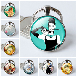$enCountryForm.capitalKeyWord NZ - fashion13 charm pendant key Holder Art fairy tale time gemstone glass dome keychain jewelry Crystal keychain Halloween creative gift
