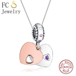 trinket necklaces NZ - FC Jewelry 925 Sterling Silver Rose Gold Purple Color Couple Love Heart Pendant Necklaces For Women Chain Choker Trinket Gifts