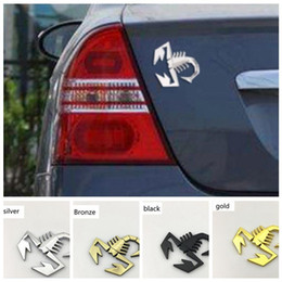 Chinese  3D Scorpion Car stickers Metal Adhesive Badge Emblem Decal Sticker for Fiat Abarth car Stickers 4colors GGA983 manufacturers