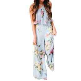 Overalls Jumpsuits For Women Australia - Jumpsuit female Summer Women Overalls for women Strap Floral Sleeveless Backless Long Wide Leg Trousers itemMAR12