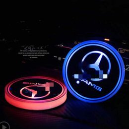 Lights for interior car online shopping - 2pcs LED Car Cup Holder Lights for Mercedes Benz AMG Colors Changing USB Charging Mat Luminescent Cup Pad LED Interior Atmosphere Lamp