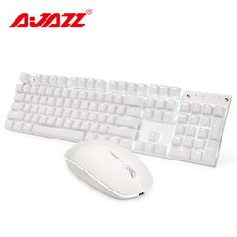 0fcdde3ea65 Ajazz A3008 2.4G Wireless Mechanical Keyboard Mouse Combos White Backlit  Blue Switches Gaming Keyboard Mouse Set 1600DPI