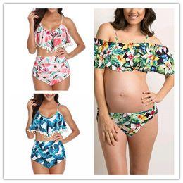 Cotton Swimwear Wholesale Australia - FASHION HOT Maternity Swimsuit For Pregnant Swimwear For Pregnant Ruffle Off Shoulder Plus Size Bathing Suit Tankinis Print Pregnant Women