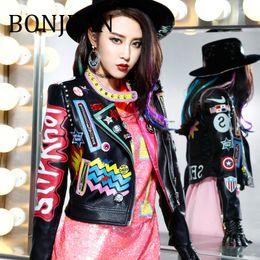 $enCountryForm.capitalKeyWord Australia - BONJEAN Rivet Decoration Jacket for Women 2018 Autumn Outerwear Black PU Leather Jackets and Coats Appliques Short Jacket BJ704