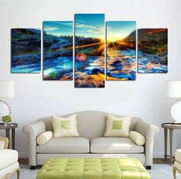Canvas Prints For Kitchen Australia - 5 Panels Stream Canvas Oil Painting Wall Art Picture Prints Oil Canvas For Sofa Bedroom Kitchen Houses Married Decoration