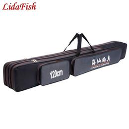 Venta al por mayor de 70cm / 80cm / 90cm120cm 2 -3 Capas Bolsas de pesca Portátil Caña de pescaras Bolsa de almacenamiento Estuche Portador Gear Gear Tackle # 664239