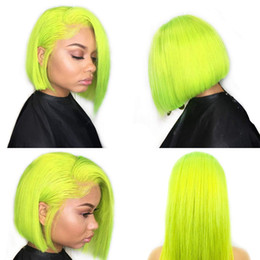 Green Color Lace Wig Australia - Sunny Beauty 100% Remy Lime Green Color Lace Front Bob Wigs for Women With Baby Hair Natural Hairline Peruvian Virgin Human Hair Wigs 8Inch