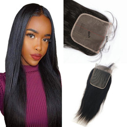 Discount straight hair middle closures - Indian Human Hair Remy 6X6 Lace Closure Middle Three Free Part With Baby Hair Body Wave Straight Natural Color 8-20innch