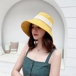0568042aa0cfe4 DeePom Summer Bucket Hat Women Korean Style Fisherman Cap Sunshade Sunhat  Panama Cap Cotton Black Bucket Hat Female Travel Beach
