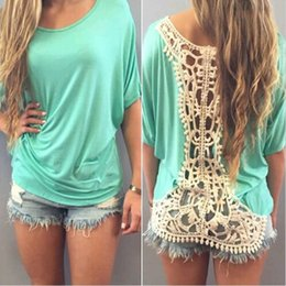Lace Splice T Shirt Australia - Women Summer Tops Newest Style Lace Crochet Splicing Short Sleeve Hollow Out 6 Colors Women Loose Daily Wear T-Shirt