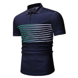 Mens Slim Fit Polos Australia - 2019 New Mens England Style Short Sleeve Cotton Slim Fit Striped Printed Polo Shirts Contrast Color Polos Fashion Urban Clothing