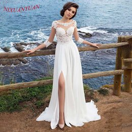 Front Slit Wedding Gowns Australia - NIXUANYUAN Scoop A Line Beach Wedding Dress 2019 Sexy Front Slit Three Quarter Lace Applique Chiffon Bridal Gown with Buttons