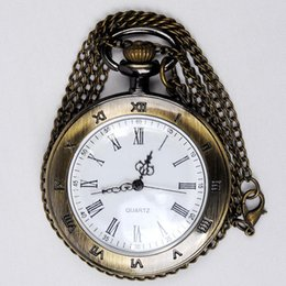 $enCountryForm.capitalKeyWord Australia - Vintage Palace Pocket Watch Single Shell White Surface Retro Quartz Roman Numerals Pocket Watch
