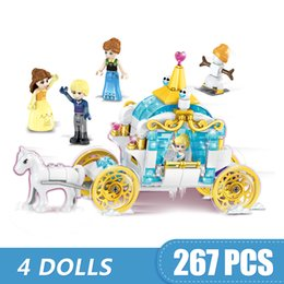 Blocks For Girls Australia - 267PCS Small Building Blocks Toys Compatible with Legoe 4 In 1 Princess's Horse Carriage Gift for girls boys children DIY