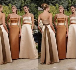 Strapless Satin Silk Wedding Dress NZ - 2019 New Design Strapless A Line Satin Long Bridesmaid Dresses with Belt Simple Vintage Maid Of Honor Gowns Wedding Party Guest Wear