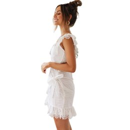 fashion trends lace dress Canada - New women's dress fashion summer sexy backless dress trend embroidery ray empty pencil skirt bag hip skirt Size S-XL-