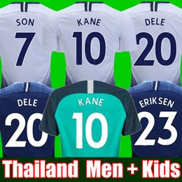 9bfbf6949 Top thailand quality KANE spurs Soccer Jersey 2018 2019 LAMELA ERIKSEN DELE  SON jersey 18 19 Football kit shirt Men and KIDS KIT SET uniform