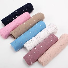 Wholesale Solid Cotton Scarves Australia - 2019 New Ladies Diamond Glitter Solid Color Plain Cotton Jersey Hijab Scarf Women Muslim Long Headband Hair Scarfs Echarpe Femme