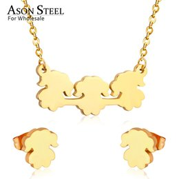 wholesale stainless steel necklace sets UK - ASONSTEEL 316L Stainless Steel Gold Color Jewelry Sets For Women 2019 Girls Necklaces Pendants Small Stud Earrings For Femme