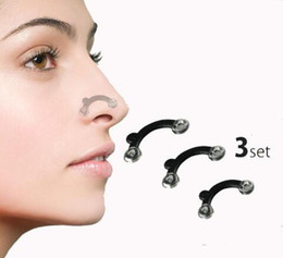 nose up shaping shaper lifting NZ - Nose Up Lifting Shaping Clip Clipper Shaper Bridge Straightening Beauty Nose Clip Corrector Massage Tool 3 Sizes No Pain