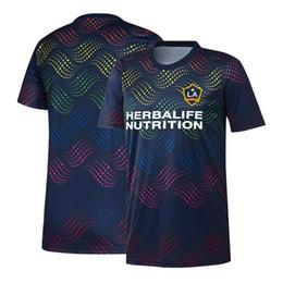 Top Football Jerseys UK - 2019 Men's MLS LA Galaxy Navy Pride Pre-Match Top soccer jersey 19 20 Los Angeles Galaxy MLS Navy Pride Pre-Match Shirt football shirt