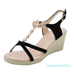 knotted sandal Australia - Bohemian Women Summer Footwear Summer Butterfly-knot Flats Sandal Woman Shoes Non-slip Crystal Beach Sandal Woman Shoes c11