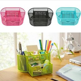 chinese stationery pens Australia - Home & Garden Multi-function Desk Pen Holder Pencil Makeup Storage Box Desktop Organizer Stand Case School Office Stationery