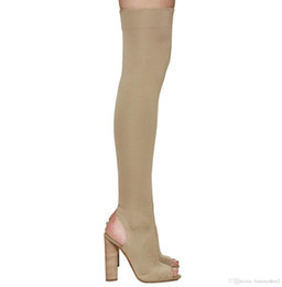 Booties heels for women online shopping - Individual Stretch Fabric Stocking Booties For Women Peep Toe Knitted Elastic Chunky Heel Fashion Runway Thigh High Boots
