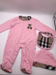 white leopard hats 2019 - Autumn Style Baby Boy Girl Rompers Long Sleeve Infant Jumpsuit+Hat Bibs 3Pcs Casual Outfit Newborn Baby Clothes for Free