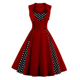 EmpirE pin online shopping - Wipalo Polka Dot Vintage Dresses Women Sleeveless Square Neck A Line Party Dresses Summer Pin Up Femele Vestidos Red