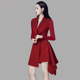 $enCountryForm.capitalKeyWord Australia - Boutique fashion design high-end women's clothing spring new lapel Slim wine red long-sleeved long dress skirt small suit Z349