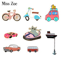 Cars Wholesale Prices Australia - Bargain price Transportation Collection Enamel pin Cartoon bike car bus boat motorcycle Brooch lapel pin Button badge Funny Gift