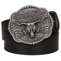 $enCountryForm.capitalKeyWord Australia - wholesale Texas cowboy belt tauren vintage male belts wild Western cowboy style belt men's leather belt Cow skull waist Jeans strap